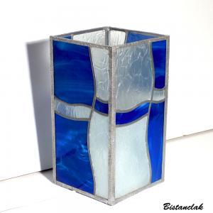 Lampe vitrail vague bleu 8