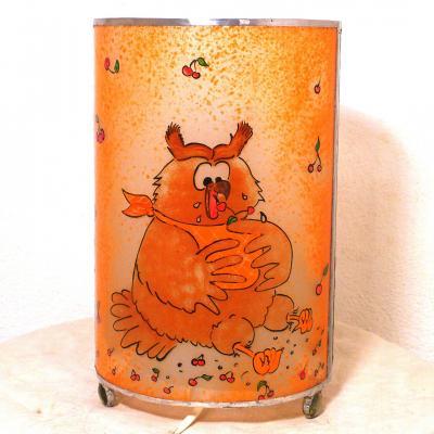 lampe orange Hibou et cerises