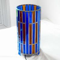 Lmape vitrail bleu et ambre