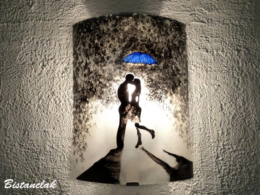 Applique d 39 ambiance romantique motif un baiser sous la pluie - Photo romantique noir et blanc ...
