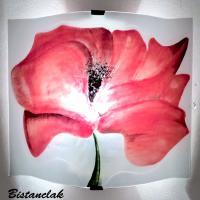 Luminaire applique murale artisanale blanche motif gros coquelicot rouge 4