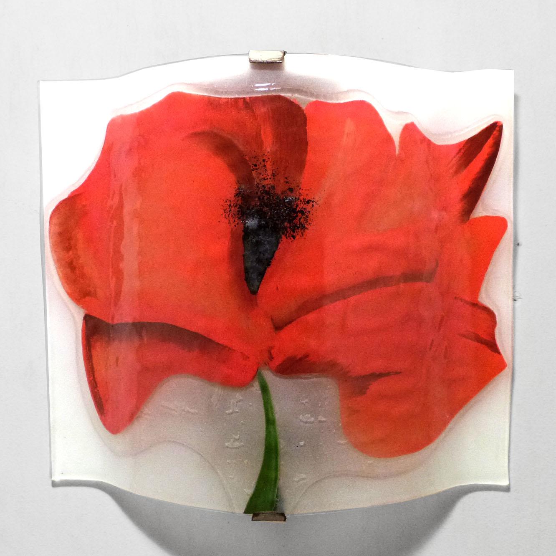 Luminaire applique murale artisanale blanche motif gros coquelicot rouge 6