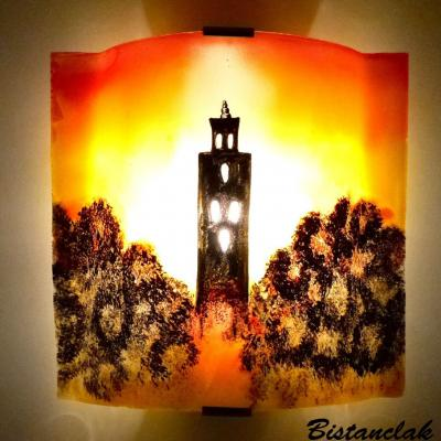 "Luminaire applique murale orange, jaune et rouge ""Temple"""