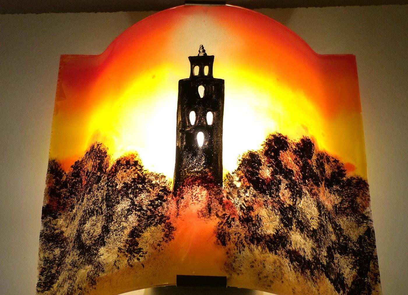 Luminaire applique murale artisanale jaune orange et rouge motif temple 3