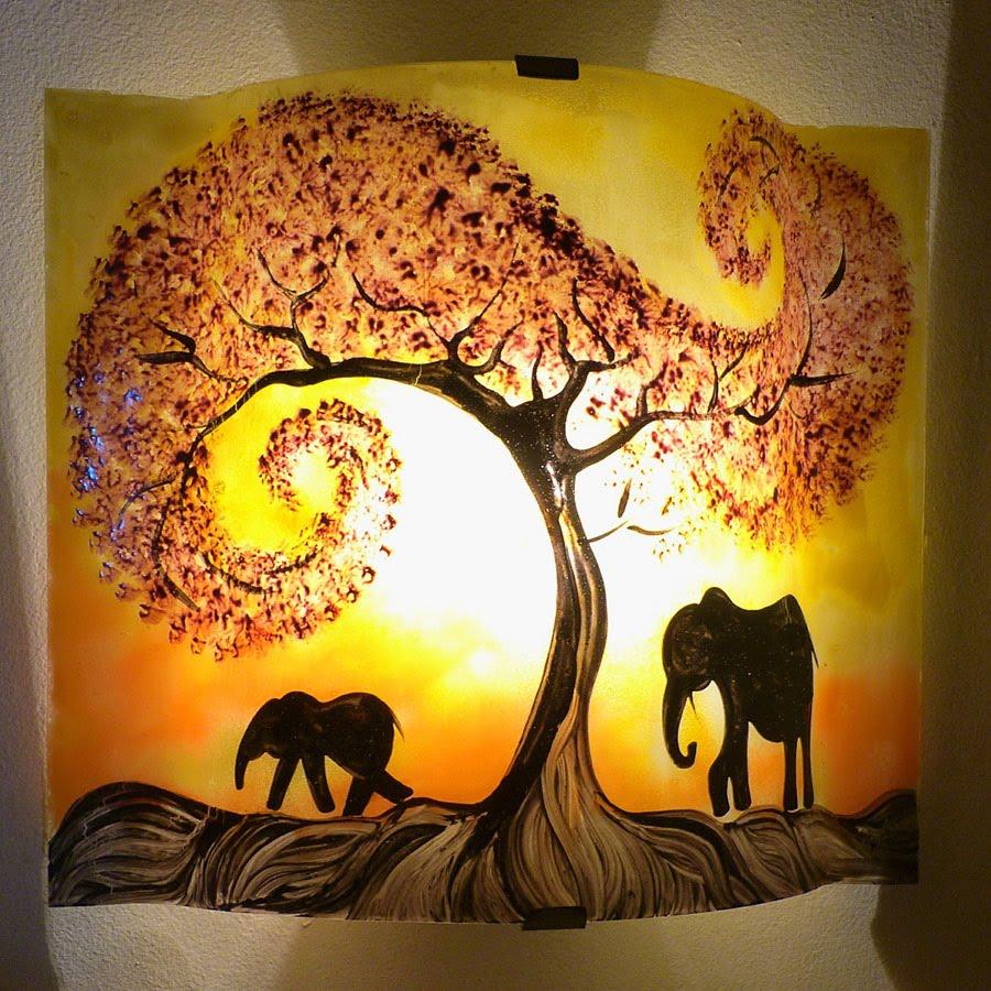 Luminaire applique murale artisanale jaune orange motif la marche de elephants sous l arbre rouge 4