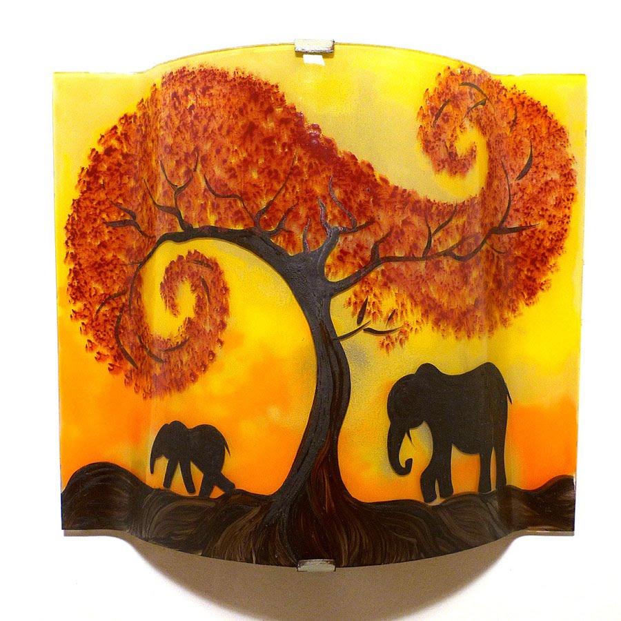 Luminaire applique murale artisanale jaune orange motif la marche de elephants sous l arbre rouge 5