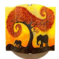 Applique artisanale jaune orange motif la marche de elephants sous l arbre rouge 5