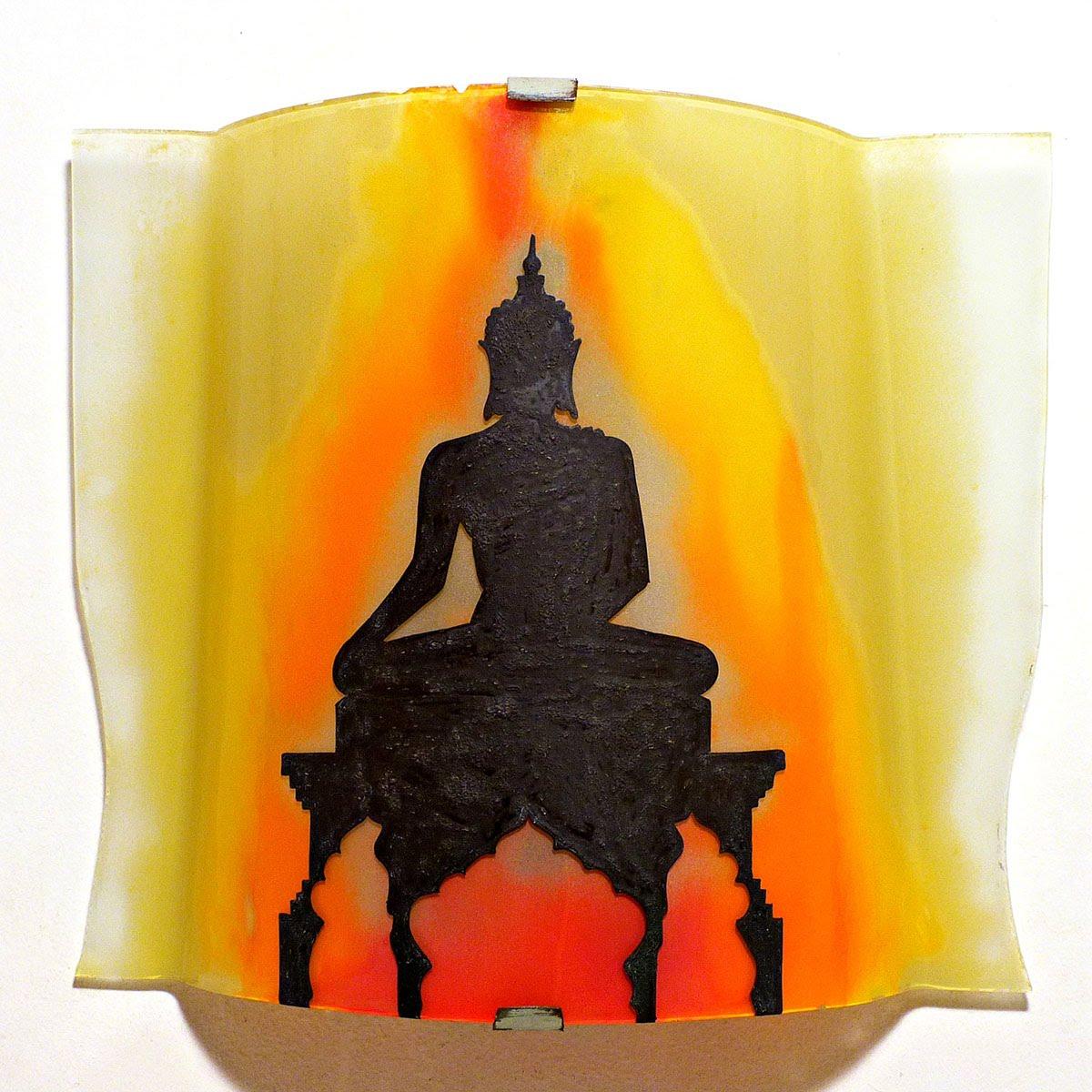 Luminaire applique murale artisanale jaune orange rouge motif statue de bouddha 5