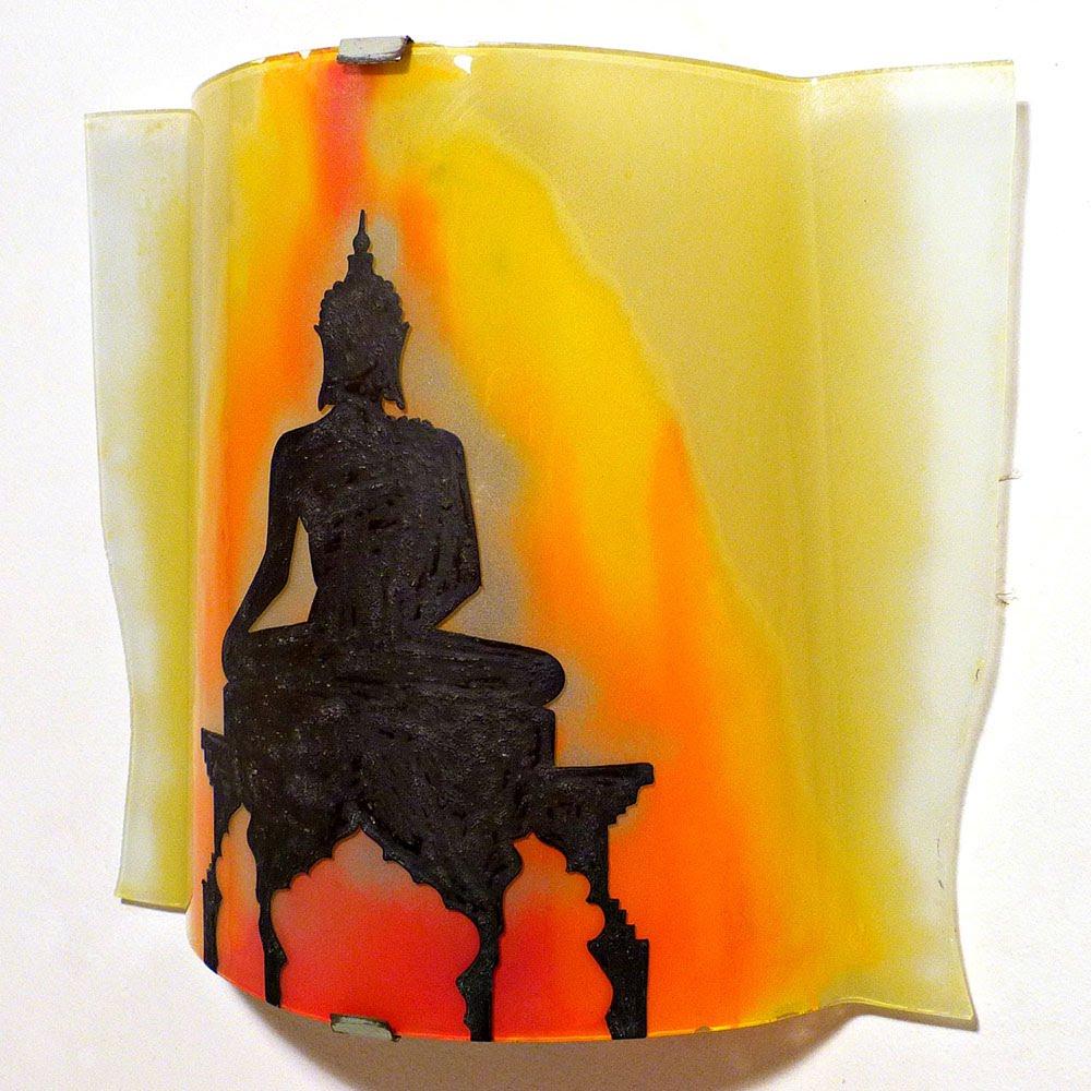 Luminaire applique murale artisanale jaune orange rouge motif statue de bouddha 6