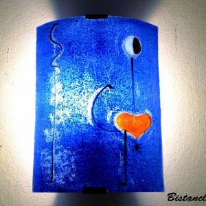 Luminaire applique murale demi cylindre bleu cobalt motif la danseuse de miro 6