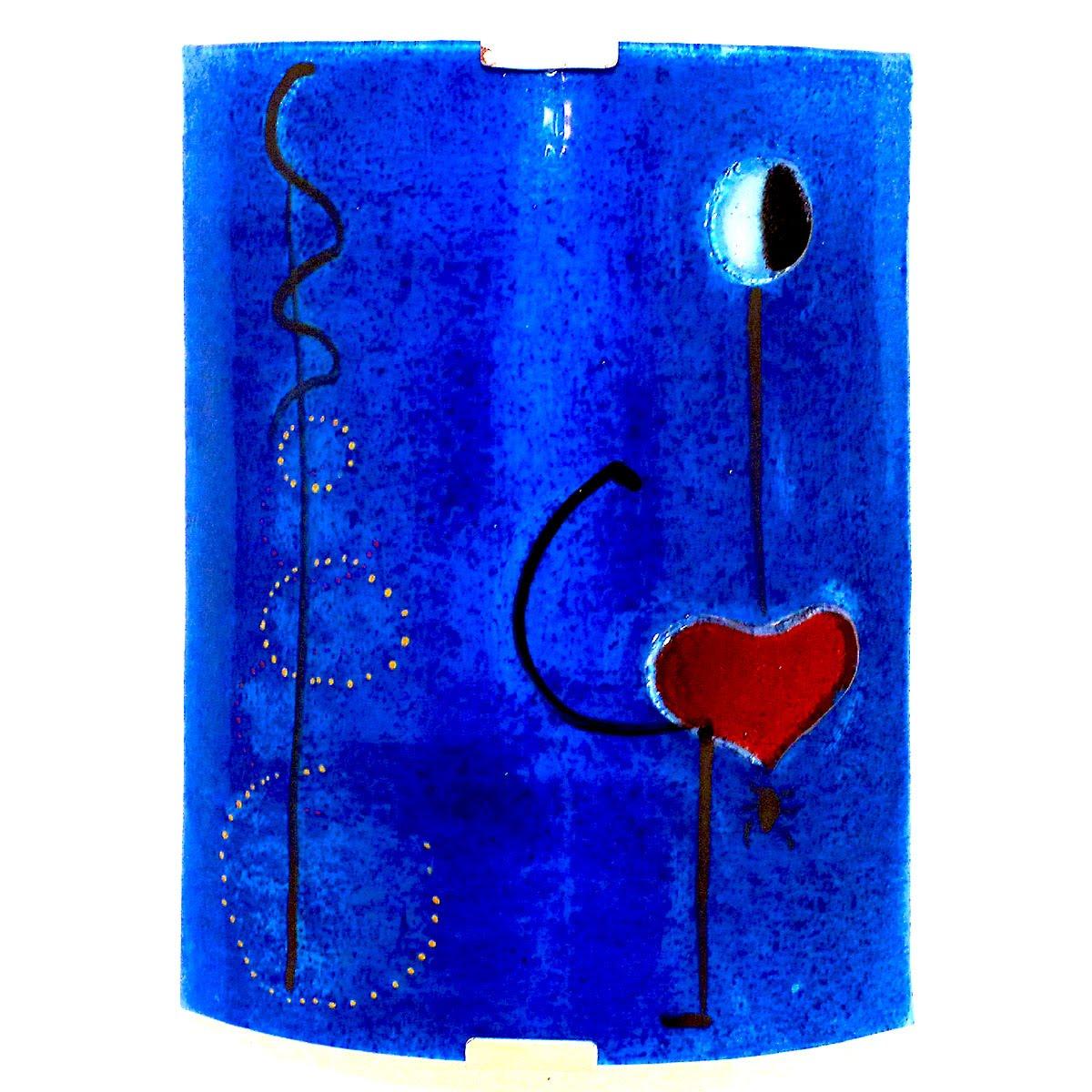 Luminaire applique murale demi cylindre bleu cobalt motif la danseuse de miro 7