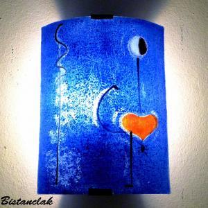 Luminaire applique murale demi cylindre bleu cobalt motif la danseuse de miro 8