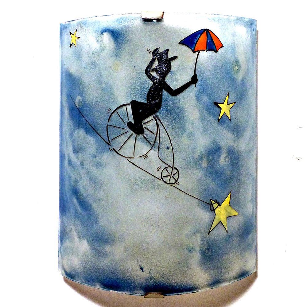 Luminaire applique murale demi cylindre fantaisie bleu motif le funambule 3
