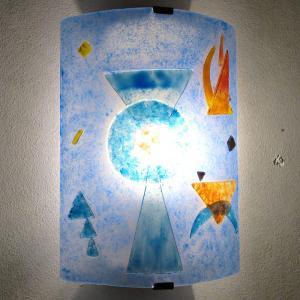 Luminaire applique murale design geometrique bleu et orange inspiration kandisnky 10