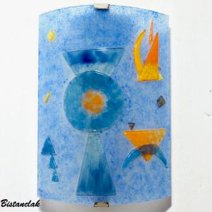 Luminaire applique murale design geometrique bleu et orange inspiration kandisnky 11