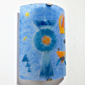 Luminaire applique murale design geometrique bleu et orange inspiration kandisnky 6
