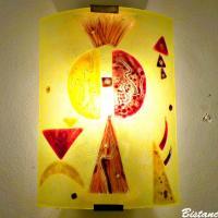 Vente en ligne applique murale jaune et rouge au design géométrique par bistanclak