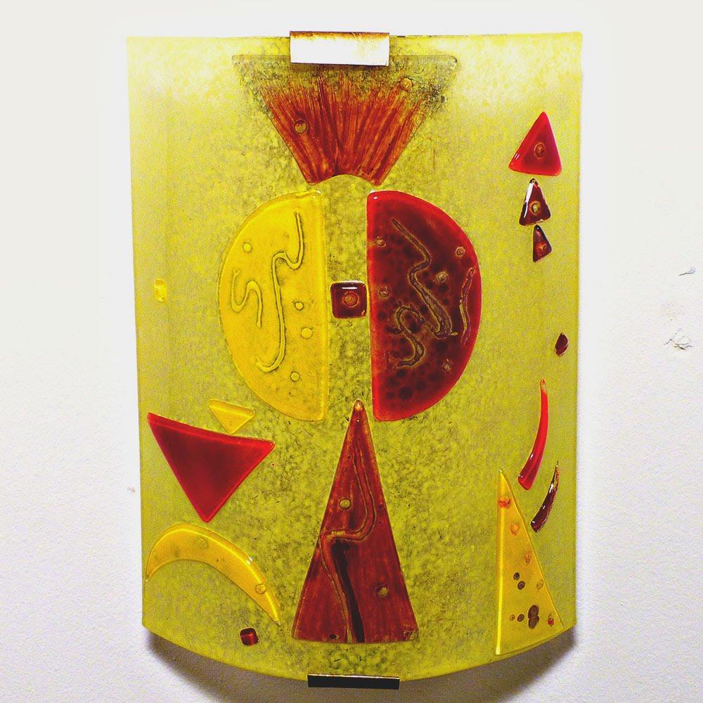 applique murale jaune et rouge design g om trique. Black Bedroom Furniture Sets. Home Design Ideas