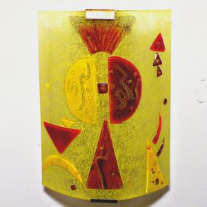 Luminaire applique murale jaune et rouge fonce design geometrique inspiration kandinsky 7