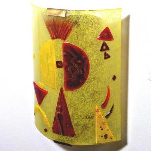 Luminaire applique murale jaune et rouge fonce design geometrique inspiration kandinsky 8