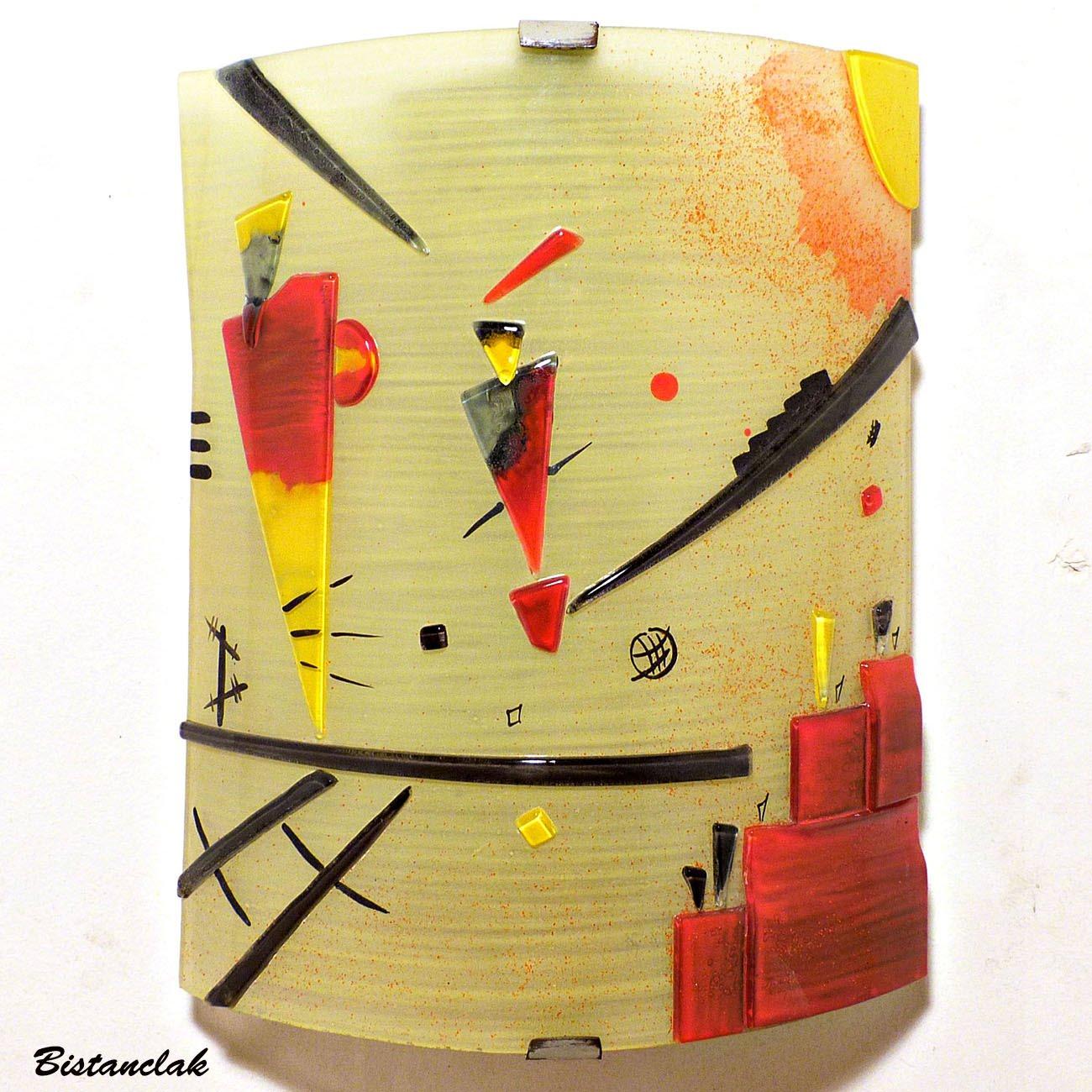 Applique design géométrique jaune et rouge inspiration kandinsky
