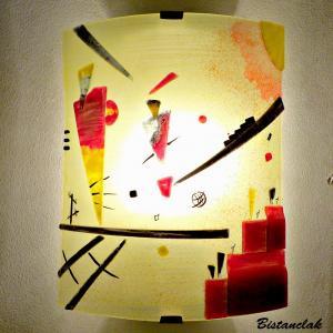 Applique jaune et rouge au design géométrique inspiré de Kandinsky vendue en ligne