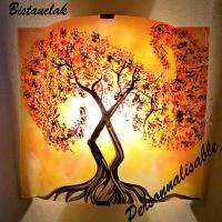 Luminaire applique murale jaune orange motif l arbre a volute rouge couleur personnalisable 1