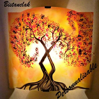 applique murale jaune orange arbre à volute rouge