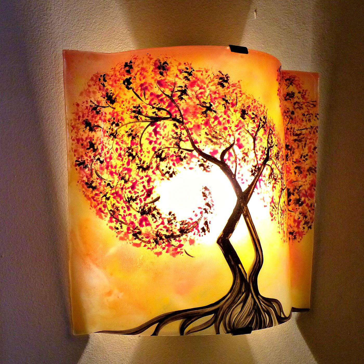 Luminaire applique murale jaune orange motif l arbre a volute rouge couleur personnalisable 2