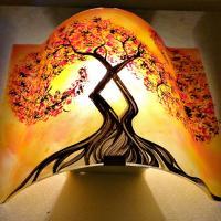 Luminaire applique murale jaune orange motif l arbre a volute rouge couleur personnalisable 3