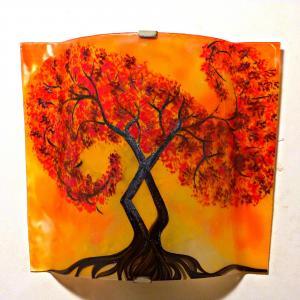 Luminaire applique murale jaune orange motif l arbre a volute rouge couleur personnalisable 4