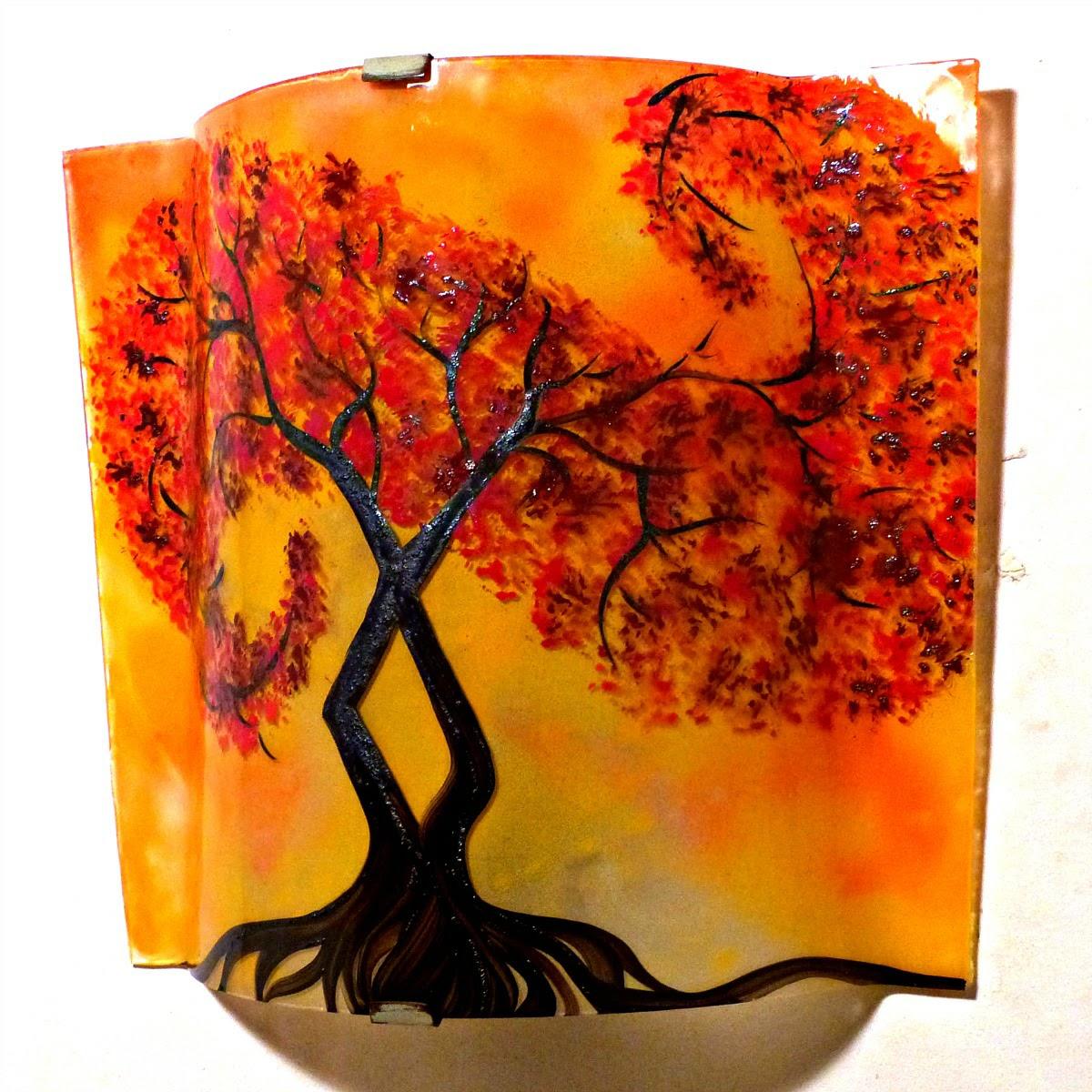 Luminaire applique murale jaune orange motif l arbre a volute rouge couleur personnalisable 5
