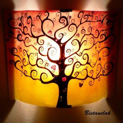 Luminaire applique murale rouge et jaune L'arbre de vie
