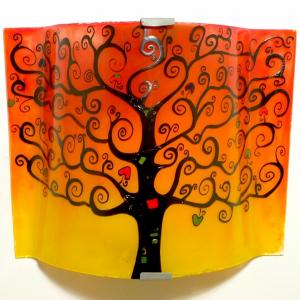 applique jaune orange rouge motif arbre de vie