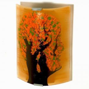 Luminaire applique murale orange et vert motif arbre en tete 2
