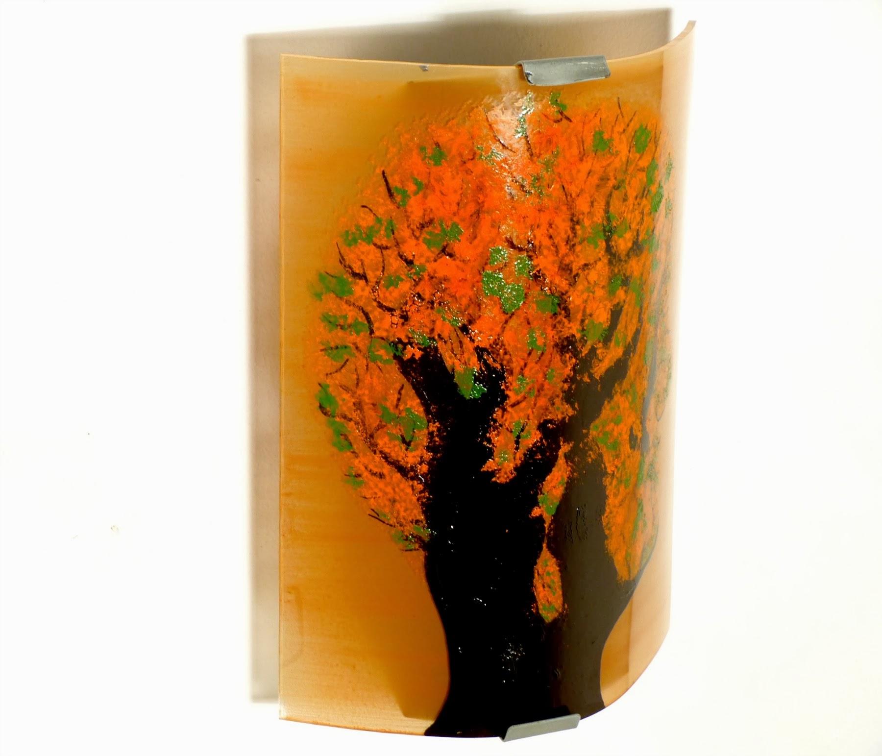 Luminaire applique murale orange et vert motif arbre en tete 3