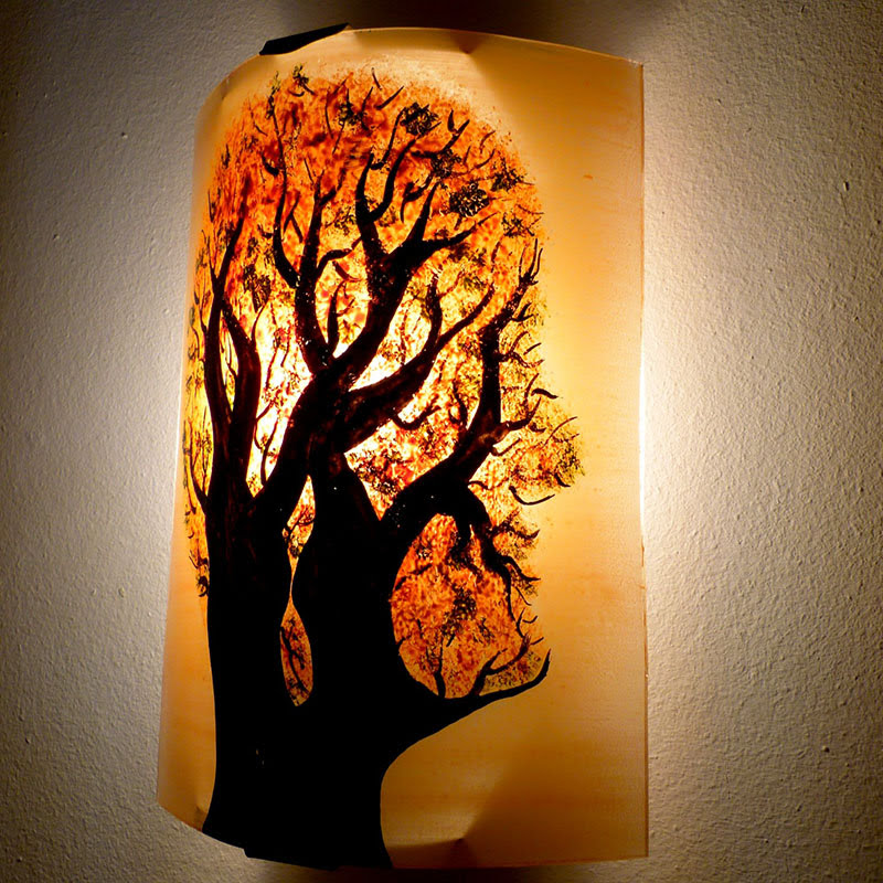applique murale orange et vert arbre en t te. Black Bedroom Furniture Sets. Home Design Ideas