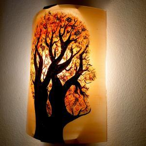 Luminaire applique murale orange et vert motif arbre en tete 5