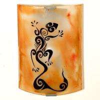 Luminaire applique murale sable orange motif lezard stylise noir 3
