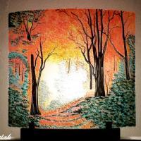 Luminaire artisanal clairiere aux couleurs d automne lumineuse
