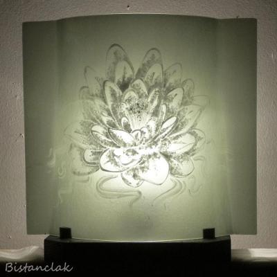 Luminaire gris taupe motif lotus blanc