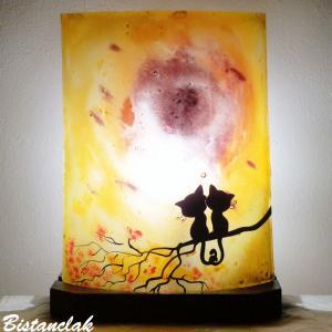 Luminaire d ambiance fantaisie jaune orange au dessin de deux chats sur une branche 1