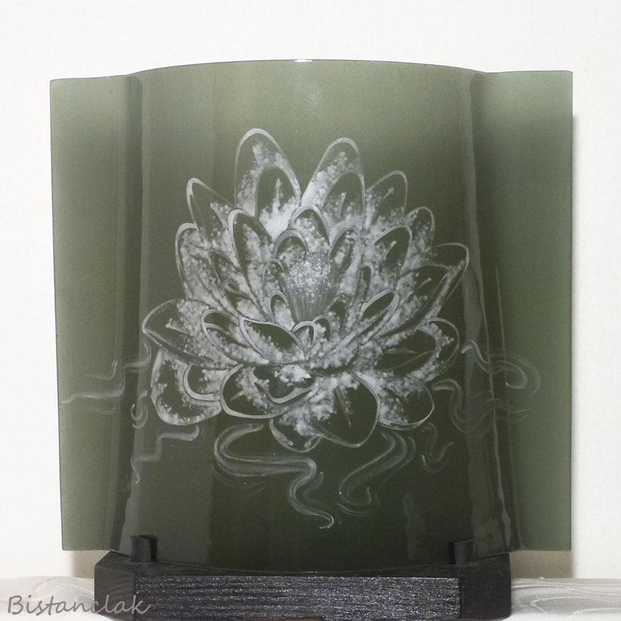 Luminaire en verre couleur taupe motif lotus blanc