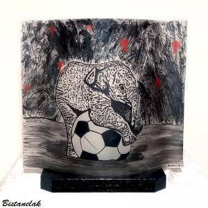 Luminaire en verre peinture sur verre motif elephant sur un ballon