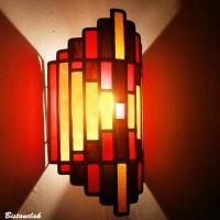Luminaire mural vitrail art deco rouge ambre et brun chocolat 1