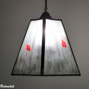 Lustre suspension forme trapeze noir et blanc motif coquelicots rouge 7