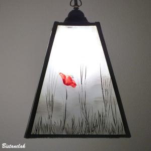 Lustre suspension forme trapeze noir et blanc motif coquelicots rouge 8