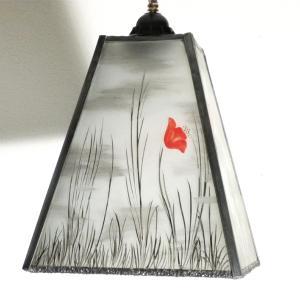 Lustre trapèze noir et blanc motif coquelicots rouges 5