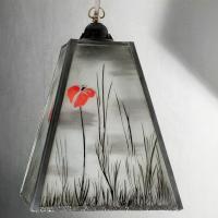 Lustre trapèze noir et blanc motif coquelicots rouges 2