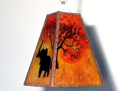 Lustre trapeze arbre et elephant 6